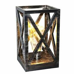 LED Vintage Lanterns with Rustic Country Style 5quot; X 5quot; X 9quot; Antique Silver $34.94