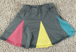 Hanna Andersson Gray Skirt Colored Insets Flared Circle Cotton Sz 100 US 4 PLAY $10.10