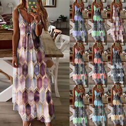 Plus Size Womens Boho V Neck Sun Dress Ladies Summer Vest Tank Long Maxi Dresses $18.99