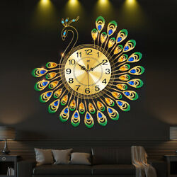 Luxury Peacock Large Wall Clock 20quot; Alloy Living Room Wall Watch Home Decor Gift $40.99