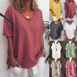 Women Summer Loose Plain T Shirts Short Sleeve Casual Loose Tops Tunic Plus Size $12.06
