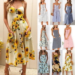 Boho Womens Summer Beach Midi Dress Holiday Cocktail Strappy Button Sun Dresses $17.66