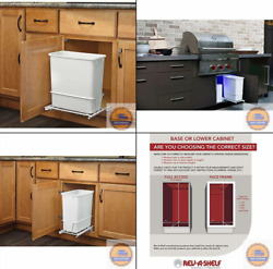 20 Quart White Trash Can Kitchen Waste Bin Garbage Pull Out Undercounter Cabinet $35.90