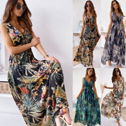 Womens Summer Floral Maxi Long Dresses Backless Party Cocktail Holiday Sun Dress $21.99