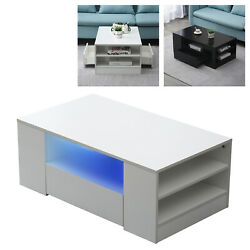 Modern High Gloss LED Coffee Table w Drawer End Table Living Room Furniture37quot; $149.03