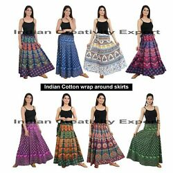 Selected Indian Cotton wrap around skirts for women Boho summer skirt for Girls $12.99