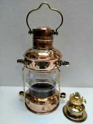Nautical Brass amp; Copper Polished Anchor Lantern Hanging Lamp Home Decorative $78.38