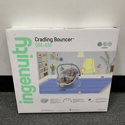 INGENUITY CRADLING MUSICAL BABY BOUNCER GRAY WHITEBLUE amp; GREEN ELEPHANT amp; LION $38.00