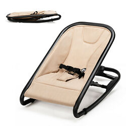 2 in 1 Baby Bouncer amp; Rocker Infant Adjustable Folding Rocking Seat Beige $49.99