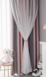 FlySheep Star Cutout Blackout Curtains for Kids Girls Bedroom 52x63 in One Panel $17.99