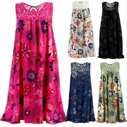 Womens Summer Sleeveless Floral A Line Dress Ladies Beach Sundress Plus Dresses $13.28