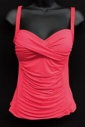 La Blanca Sz 8 Neon Red Island Goddess Sweetheart Tankini Swim Bathing Women Top $27.00