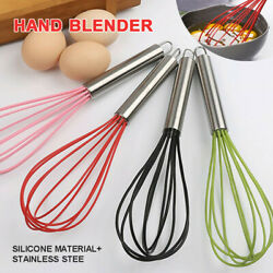 Manual Stainless Steel Silicone Whisk Mixer Egg Milk Beater Blender 10#x27;#x27; Kitchen $3.99