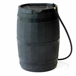 FCMP Outdoor RC45 Rain Barrel with Flat Back for Outdoor Plants amp; Gardens Black $130.00