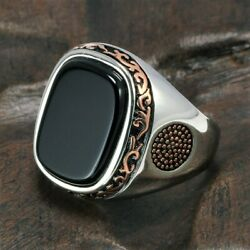 Real Pure Mens Rings Silver s925 Retro Vintage Turkish Rings For Men With Natura $23.62