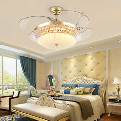 Crystal 42quot; Chandelier Ceiling Fan Light Retractable Blades LED Dimmable Remote $139.00