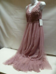 LITTLE MISTRESS PETITE FLORAL MAXI EMBROIDERED LONG PROM DRESS MAUVE SIZE 12 NEW