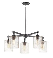 Stonehenge 5 Light Chandelier Bronze Finish with Stone Seeded Glass $380.80