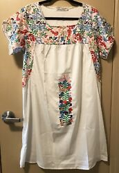 H amp; M BOHO STYLE PEASANT TUNIC DRESS TOP MULTICOLORED EMBROIDERED SZ LG NWOT $14.00