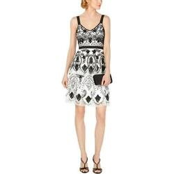 Adrianna Papell Womens Ivory Tiered Beaded Cocktail Party Dress 6 BHFO 0832
