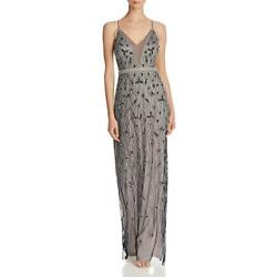 Adrianna Papell Womens Navy Mesh Embellished Formal Dress Gown 10 BHFO 2375