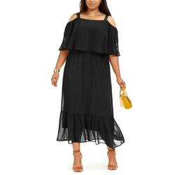 NY Collection Womens Black Petite Popover Maxi Dress Plus 1XP BHFO 2860 $6.99