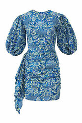 RHODE Women#x27;s Dress Blue Small S Sheath Puff Sleeve Draped Floral $425 #700 $88.97