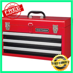 Craftsman Portable Tool Box 20.5 In Ball Bearing 3 Drawer Red Steel Lockable $83.97