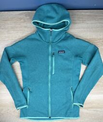Patagonia Better Sweater Jacket Hooded Womens Size M Teal Green Full Zip $129.99