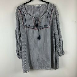 Old Navy BoHo Size XXL Womans Top Navy White Striped Long Sleeve Tunic Hi Low $16.14