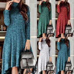 Ladies Plain High Neck Collar Long Sleeve Maxi Dress Casual Swing Long Dresses $15.19