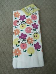 SNOOPY PEANUTS flowers KITCHEN DISH TOWEL SET OF 2 NEW WITH TAG $16.99