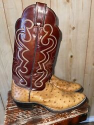 Justin#x27;s Men Exotic Ostrich Boots Size 10 Pre Owned $110.00