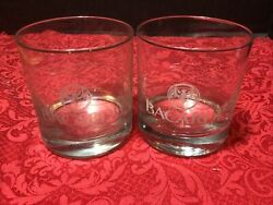 Set Of 2 Bacardi Rum Cocktail On The Rocks Lowball Glass Etched Bat Logo Barware $12.99