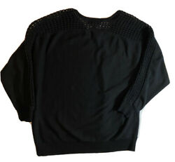 Lane Bryant Black Long Sleeve Stretch Top With V neck Back Size 18 20
