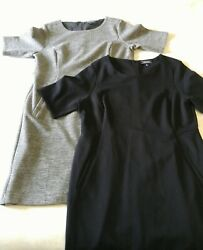 Lands End Womens Plus Dresses Sz 18 Pleated Sheath Career LOT OF TWO Black Gray $54.99
