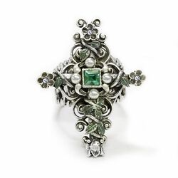 NEW SWEET ROMANCE VICTORIAN FLOWER CROSS ADJUSTABLE RING SILVERTONE MADE IN USA $26.99