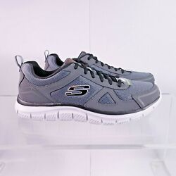 Size 12 Men#x27;s Skechers Track Scloric Sneakers 52631 CCBK Charcoal Black $32.95
