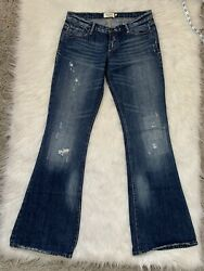 Abercrombie amp; Fitch Womens Wide Leg Jeans Sz 4R Distressed Low Rise $24.99