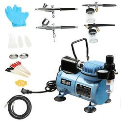 Cake Tattoo Airbrush Decorating Kit 4 Airbrushes Air Compressor and Clean Set $105.99