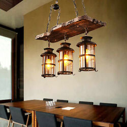 Rustic Wood 3 Heads Chandelier Industrial Ceiling Lamp Pendant Light Hanging new $115.14