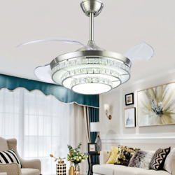 42quot; Crystal Retractable Ceiling Fans Modern LED Chandelier with Lights Remote $174.79