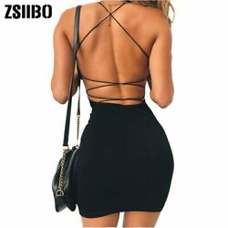 Women Sexy Bodycon Party Dresses Backless Spaghetti Straps Clubwear Mini Dress $14.99