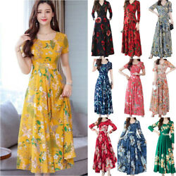 Womens Floral Print A Line Swing Dress Holiday Party Cocktail Long Maxi Dress US $16.59
