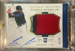 Ronald Acuna 2018 NATIONAL TREASURES RPA ROOKIE PATCH AUTO RC **HOT PACK** $24.99