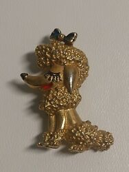 Vintage Gold Tone Smiling Poodle Dog Pin Brooch Unsigned Bow on Head ADORABLE $19.99