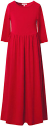 QPANCY Maxi Dresses for Girls 3 4 Sleeve Long Dress Church Party with Pockets $36.38