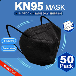 50 Pack Black Masks 3d Design New and Sealed Face Mask Cover