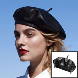 French Berets for Women Women Beret Hat Black Leather Hat Faux Leather Berets $11.40