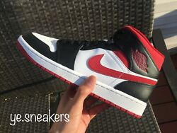 NEW Nike Air Jordan 1 Mid White Gym Red Black Men#x27;s Sizes 8 14 554724 122